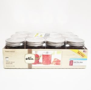 KERR 12 (8oz) Mason Jars With Lids And Bands